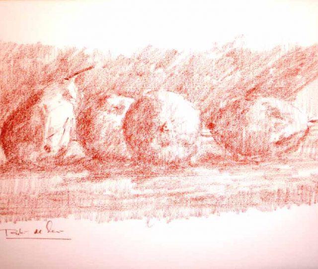 Dibujo a sanguina de un bodegón