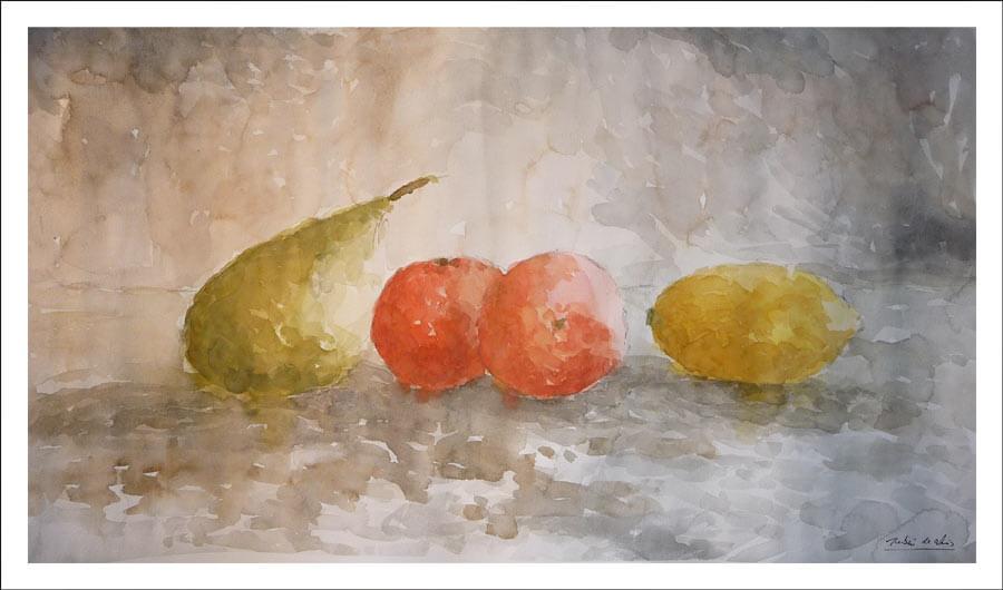 Acuarela de un bodegón de frutas