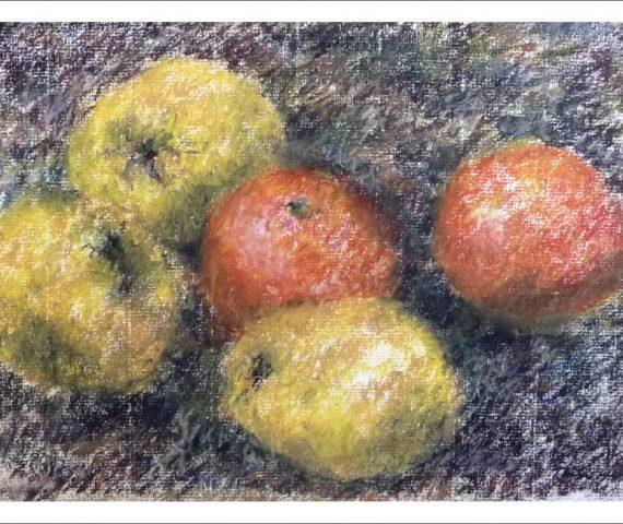 Bodegón de membrillos y naranjas
