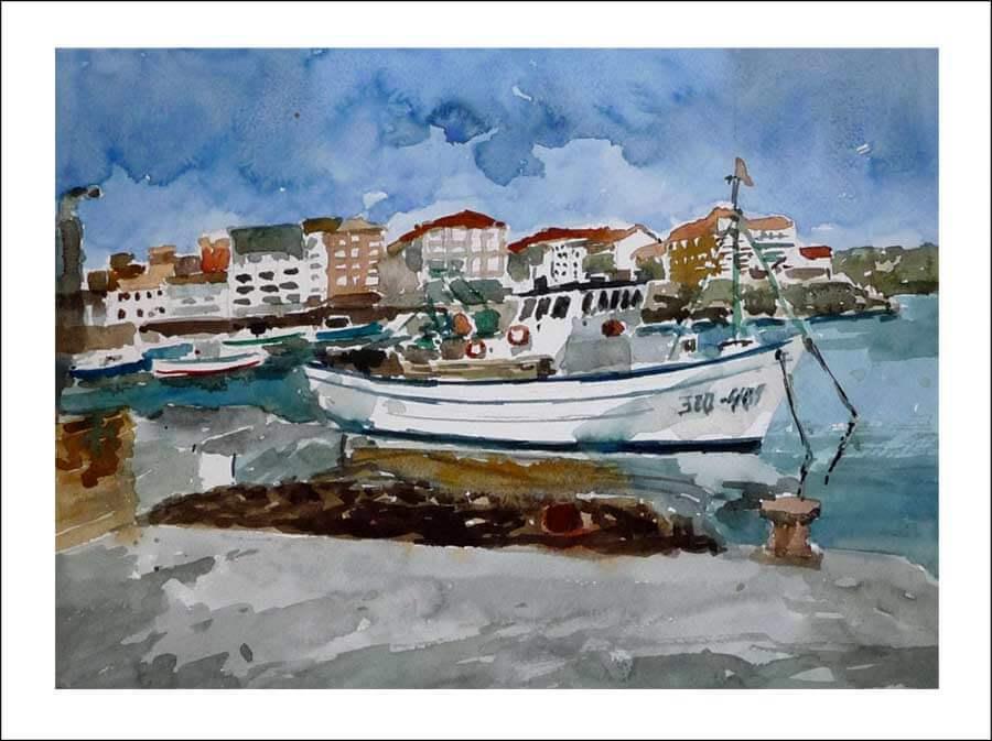 Paisaje en acuarela de Camariñas, La Coruña