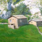 Cuadro al oleo de unas casas en un valle pasiego