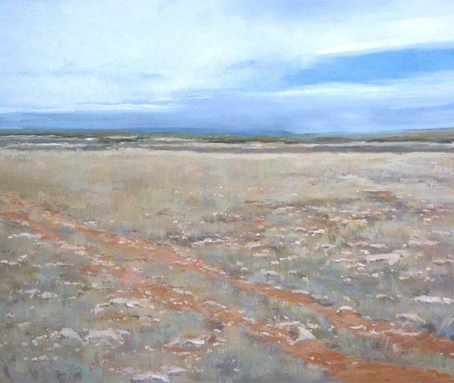 Cuadro de un paisaje al oleo de Castrillo Tejeriego en Valladolid