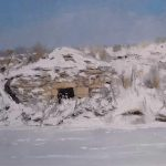 Cuadro de un chozo nevado