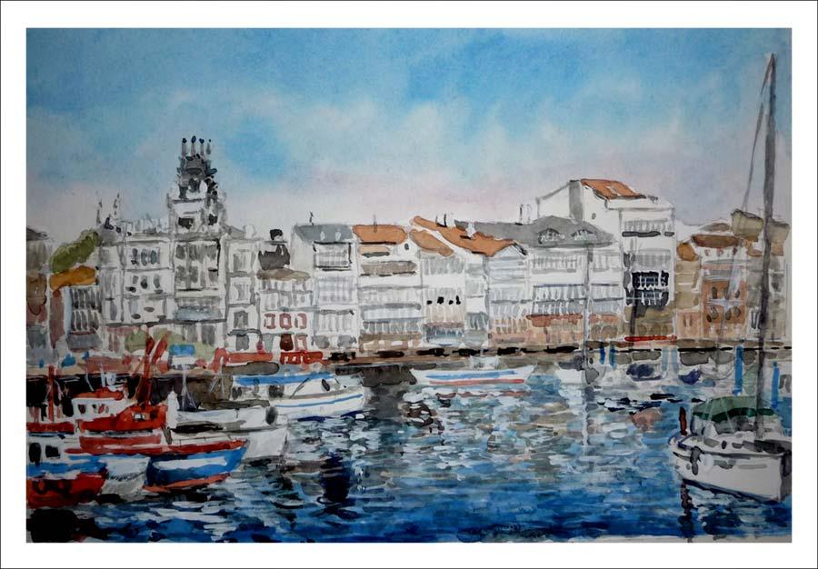 Cuadro en acuarela de La Coruña. Puerto deportivo.