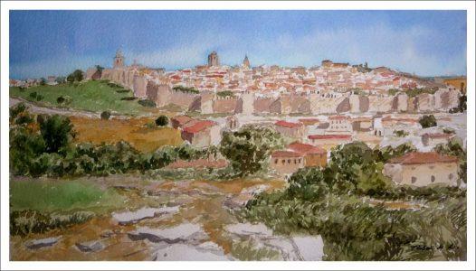 Acuarela de un paisaje de Ávila