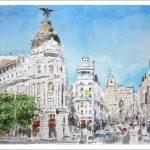 Acuarela de la Gran Vía, Madrid