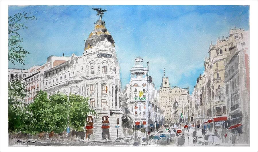 Cuadro en acuarela de la Gran Vía de Madrid