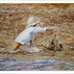Cuadro al óleo de una niña jugando en la playa