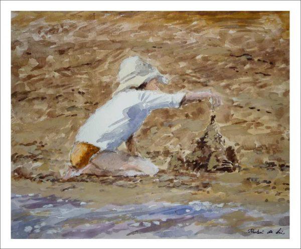 Cuadro en acuarela de una niña jugando en la orilla del mar