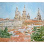Acuarela de un paisaje de Santiago de Compostela