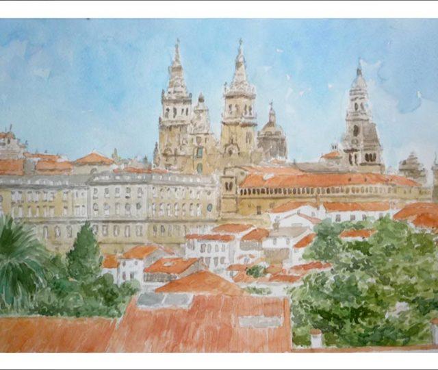 Acuarela de Santiago de Compostela