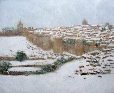 Cuadro al oleo de un paisaje de Ávila nevada