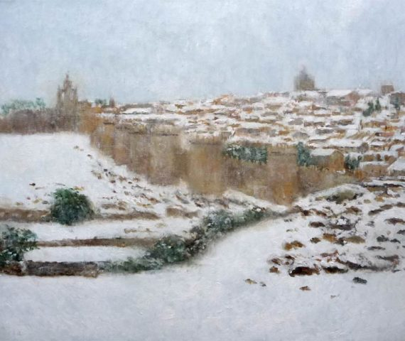 Cuadro de un paisaje de Ávila nevada