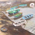 Cuadro de unas barcas en Comillas
