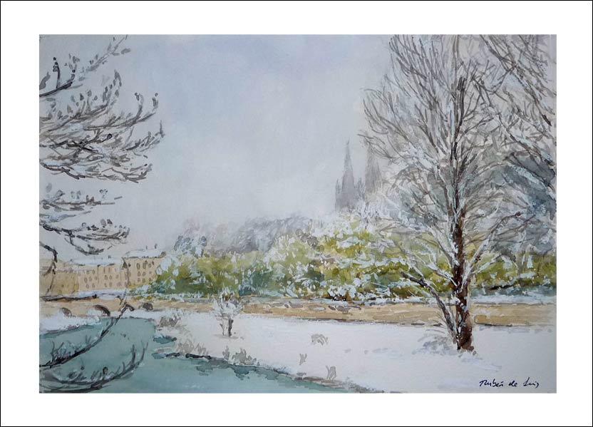 Cuadro de la ciudad de Burgos nevada