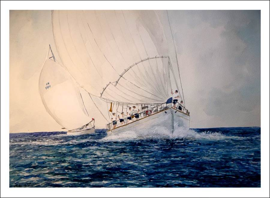 Cuadro de dos barcos navegando