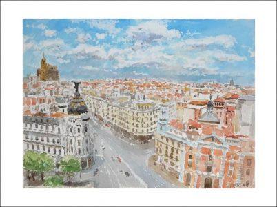 Cuadro de Madrid desde la Gran Vía