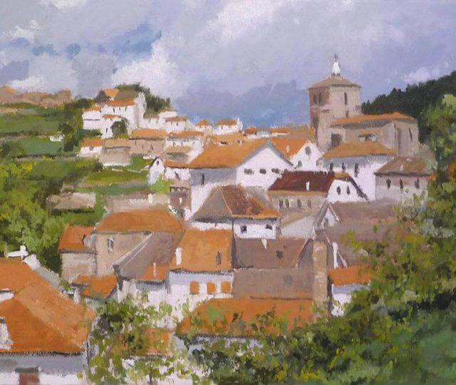Oleo de un paisaje de Roncal en Navarra