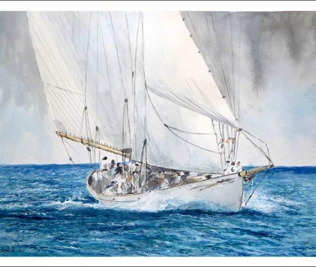 Cuadro de un velero blanco en alta mar
