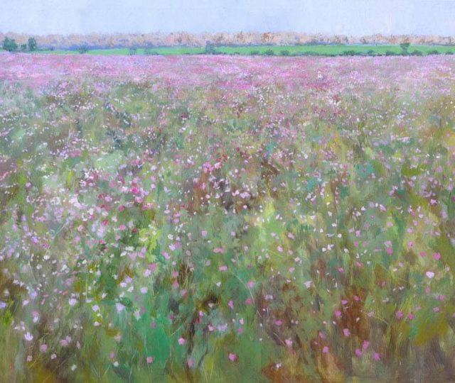 Cuadro al óleo de un paisaje de flores ciolétas