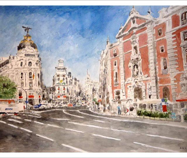 Gran Vía de Madrid desde la calle de Alcalá.