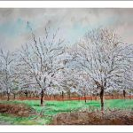 Cuadro de un paisaje con manzanos