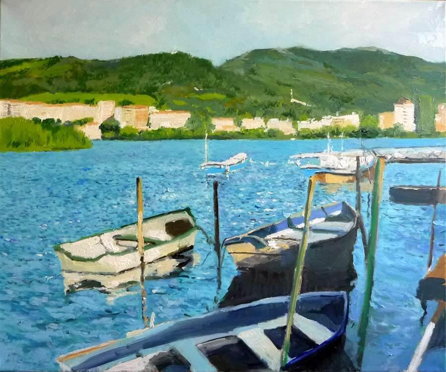 cuadro de unas barcas en Hondarribia