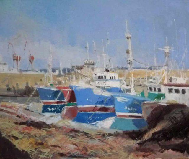 Marina al óleo del puerto pesquero de Santurzi