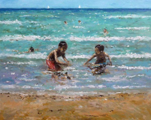 Cuadro al oleo de unos niños jugando en la orilla del mar.