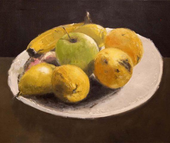 Bodegón de frutas pintado al oleo por Rubén de Luis