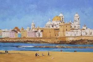 Oleo de una vista de la ciudad de Cádiz