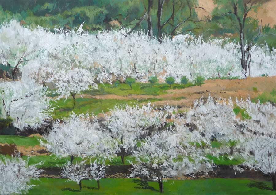 Cuadro de un paisaje de unos cerezos