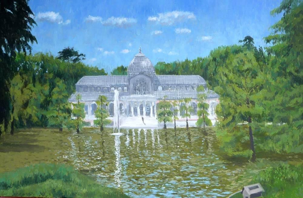 Cuadro al oleo del palacio de cristal del Retiro en Madrid