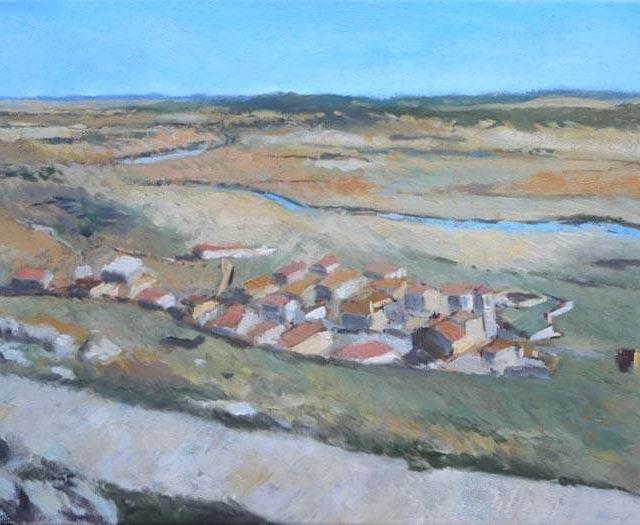 Cuadro al oleo de Gormáz, Soria.