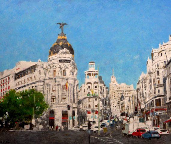 Cuadro al oleo de la Gran Vía de Madrid.