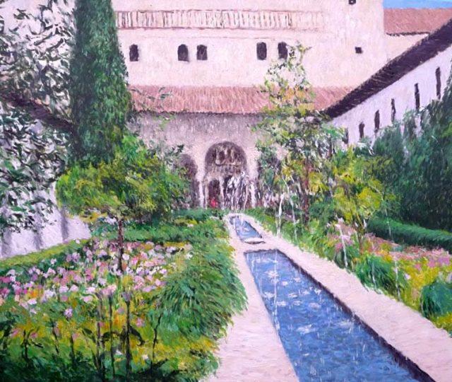 Cuadro al oleo de los jardines del Generalife en Granada