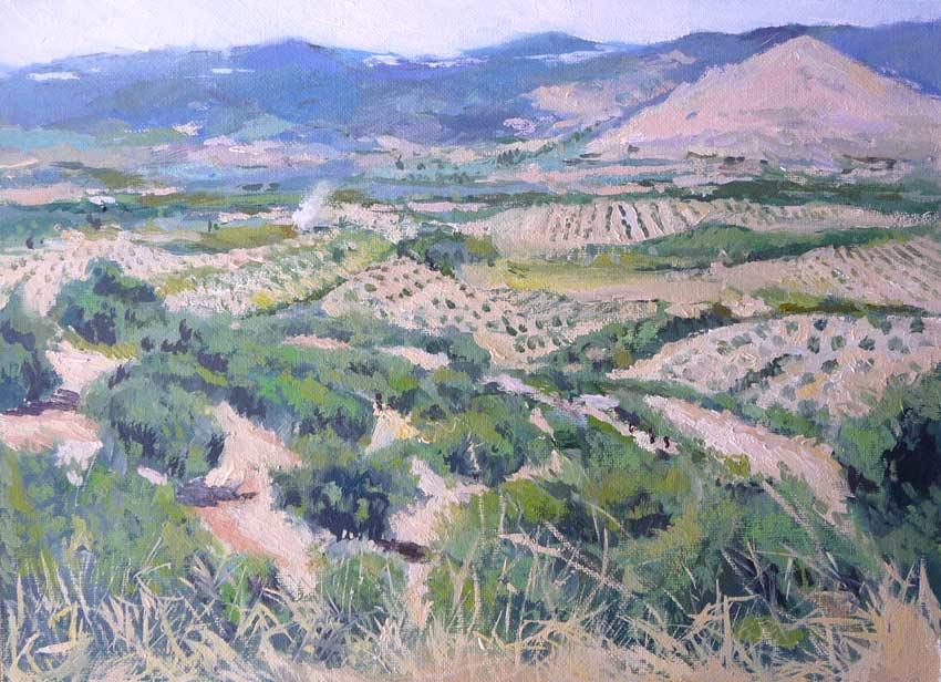 Paisaje de olivares en Jaén al óleo