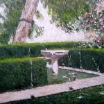 Cuadro al óleo del Patio del Ciprés de la Sultana, Alhambra de Granada