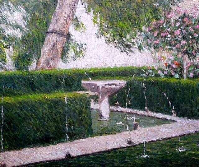 Cuadro al oleo del patio del Ciprés de la Sultana en la Alhambra de Granada