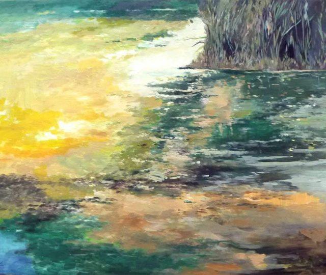 Un cuadro al óleo de unos juncos en el río