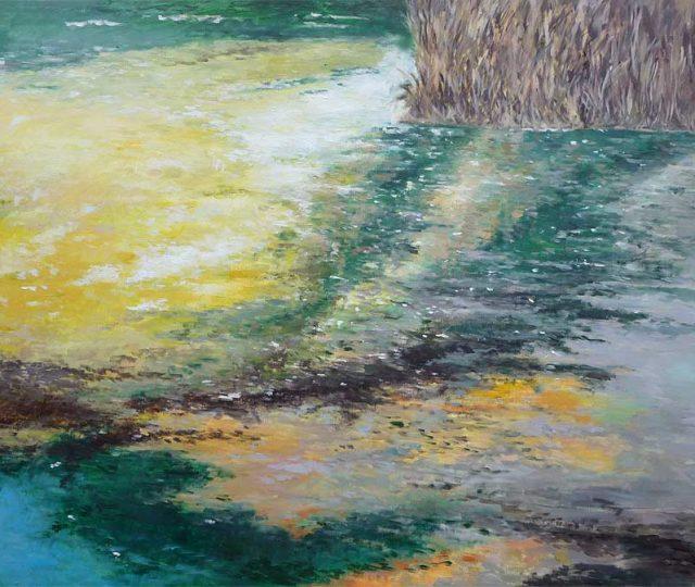 Cuadro al oleo de unos juncos en el río