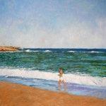 Cuadro al oleo de un niño en una playa de Málaga