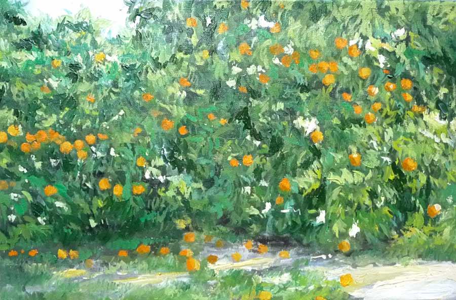 Cuadro al óleo de naranjos