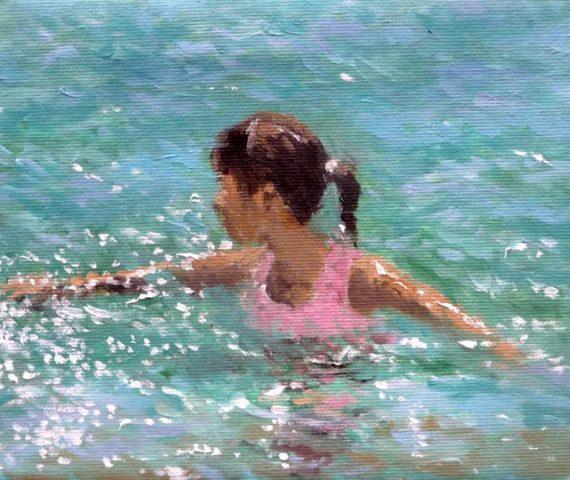 Cuadro al oleo de una niña en el mar