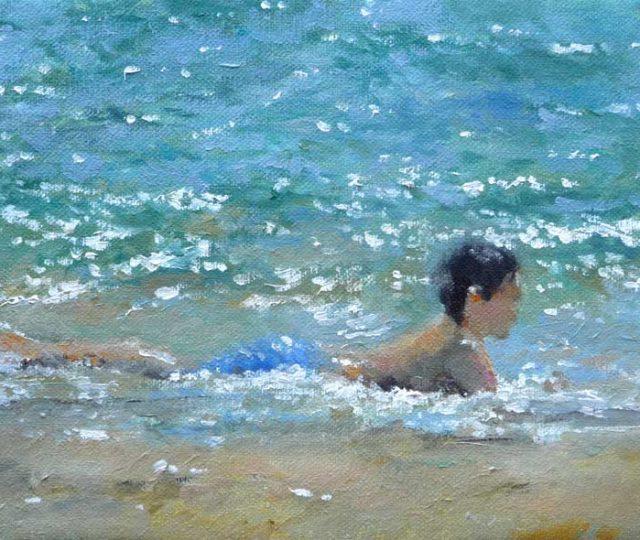 Cuadro al oleo de un niño en la orilla del mar