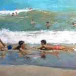 Cuadro al oleo de unos niños en la playa