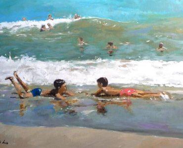 Niños en la orilla del mar, oleo sobre lienzo.