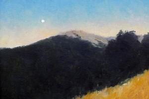 Cuadro al oleo de un paisaje de un anochecer