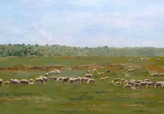 Cuadro al óleo de un rebaño de ovejas pastando en un páramo castellano
