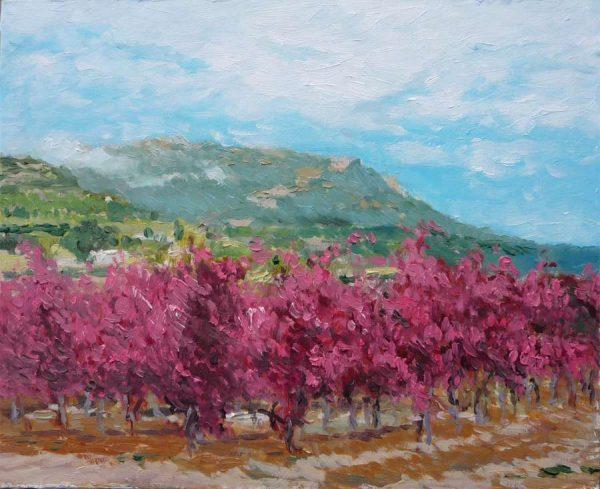 Cuadro al oleo de un paisaje de otoño en La Rioja
